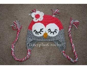 Crochet Sleepy Owl beanie with braids. Owl beanie wth earflaps and braids. Handmade to order.
