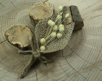 Set of 1 Rustic Boutonniere ,Groom and groomsmen boutonniere,  Natural Eco Wedding Boutonniere