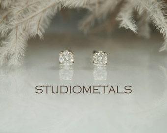 Tiny Diamond Stud Earrings, 14K White Gold Diamond Earrings, Small Diamond Studs, Petite, E147