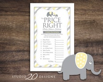 Instant Download Yellow Elephant Baby Shower The Price Is Right Game Cards, Printable Party Sheets, Yellow Grey Elephant Baby Shower #22F
