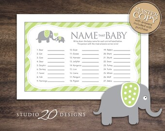 Instant Download Green Elephant Baby Shower Games, Green Name That Baby Game, Printable Baby Animal Game, Gender Neutral Baby Game 22D