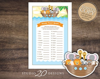 Instant Download Noah's Ark Name That Baby Shower Game, Printable Noahs Ark Baby Shower Game, Noahs Ark Theme Baby Animal Name Game 63A