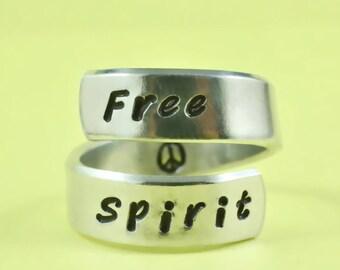 Free Spirit - Spiral Ring, Hand Stamped Aluminum Ring, Best Gift Ring