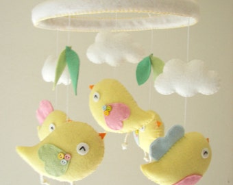 "Baby crib mobile, Bird mobile, felt mobile, nursery mobile, baby mobile, ""Birds -baby yellow, Hoop """