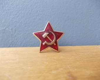 Soviet BADGE / USSR 70's / Red Star / Hummer and Sickle / Comunism Symbol / Soldiers Badge / Vintage Brooch / Pin