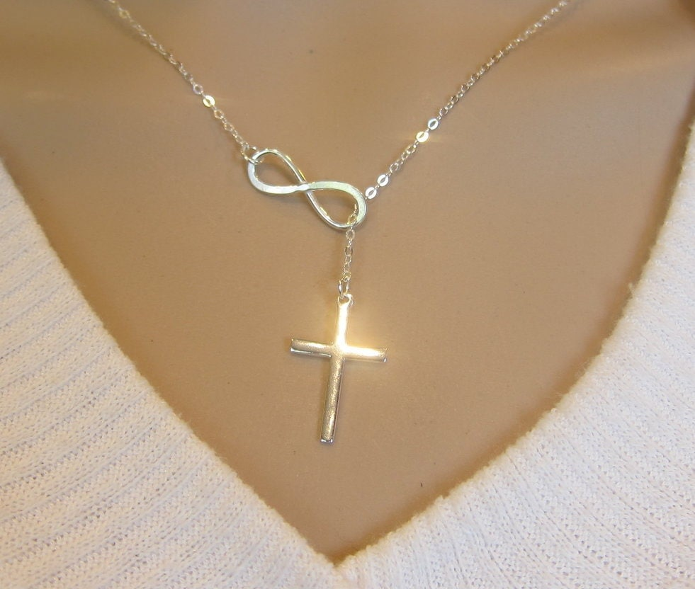 large sterling silver infinity cross necklace infinity. Black Bedroom Furniture Sets. Home Design Ideas