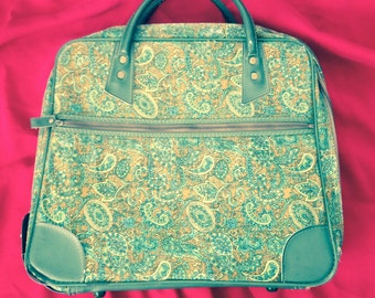 Vintage 60s Green Paisley Travel Bag Carry On Purse
