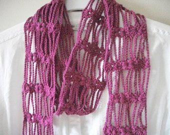 Long Magenta Lacy Crochet Cotton Scarf