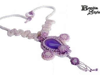 Beadwork Necklace C.R.A.W. Purple and White, Beded Purple and White necklace, Beading Pendant Рurple agate, Beading necklace white jade,
