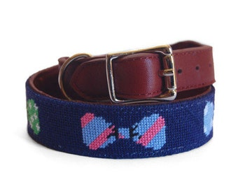 Bow Tie Needlepoint Dog Collar
