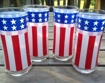 Set of four vintage Stars and Stripes red white and blue tall drinking glasses