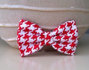 Dog Bow Tie- Red Houndstooth