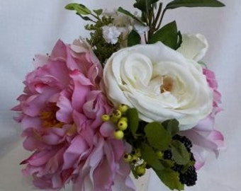 Silk Floral Arrangement Pink Peonies, Roses, Dill Blossom, Ficus, and Berries in Mint Julep Cup