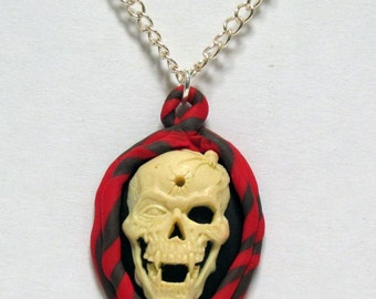 OOAK Clay Ringed Skull Cameo Necklace 01