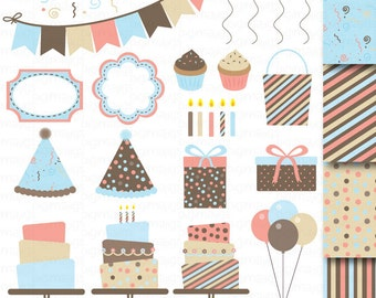 Birthday Cake Clipart, Card Design, Bunting Clipart, Invitation Kit Clipart, Digital Papers, Scrapbooking, Balloons, Confetti, Candles