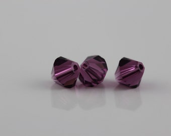 Amethyst~6 mm Xillion Bicone (5328) Genuine Swarovski crystals. ( 25 ) pcs.