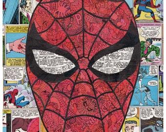 Spiderman Comic Collage Print
