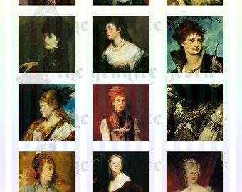 Vintage Portraits 2 inch Square Tile Charms Printable Digital Collage