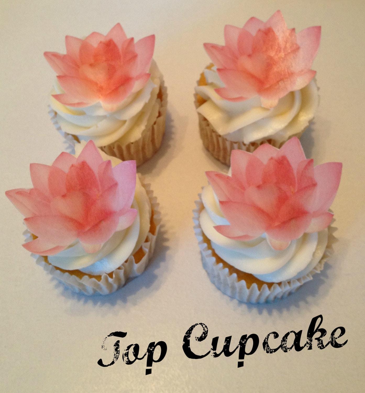 Edible Lotus Flower Cupcake Toppers