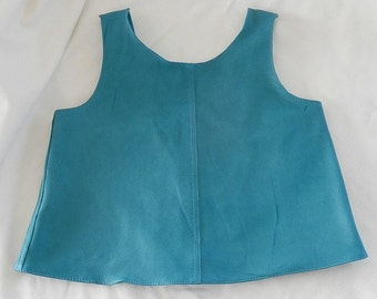 Child's turquoise leather tank top made from deer hide