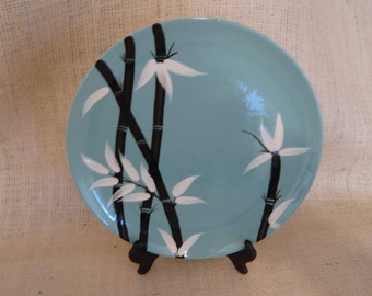 Weil Ware 9 7/8 Dinner Plate, Black Bamboo Pattern WEW4