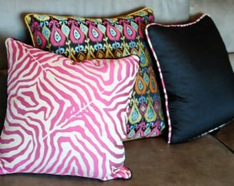 Professional quality custom made home decor pillow. Pick your fabric and size.