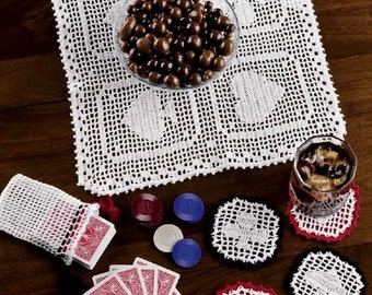 In the Cards.  Square Lace Hand Crocheted Pattern Coasters.