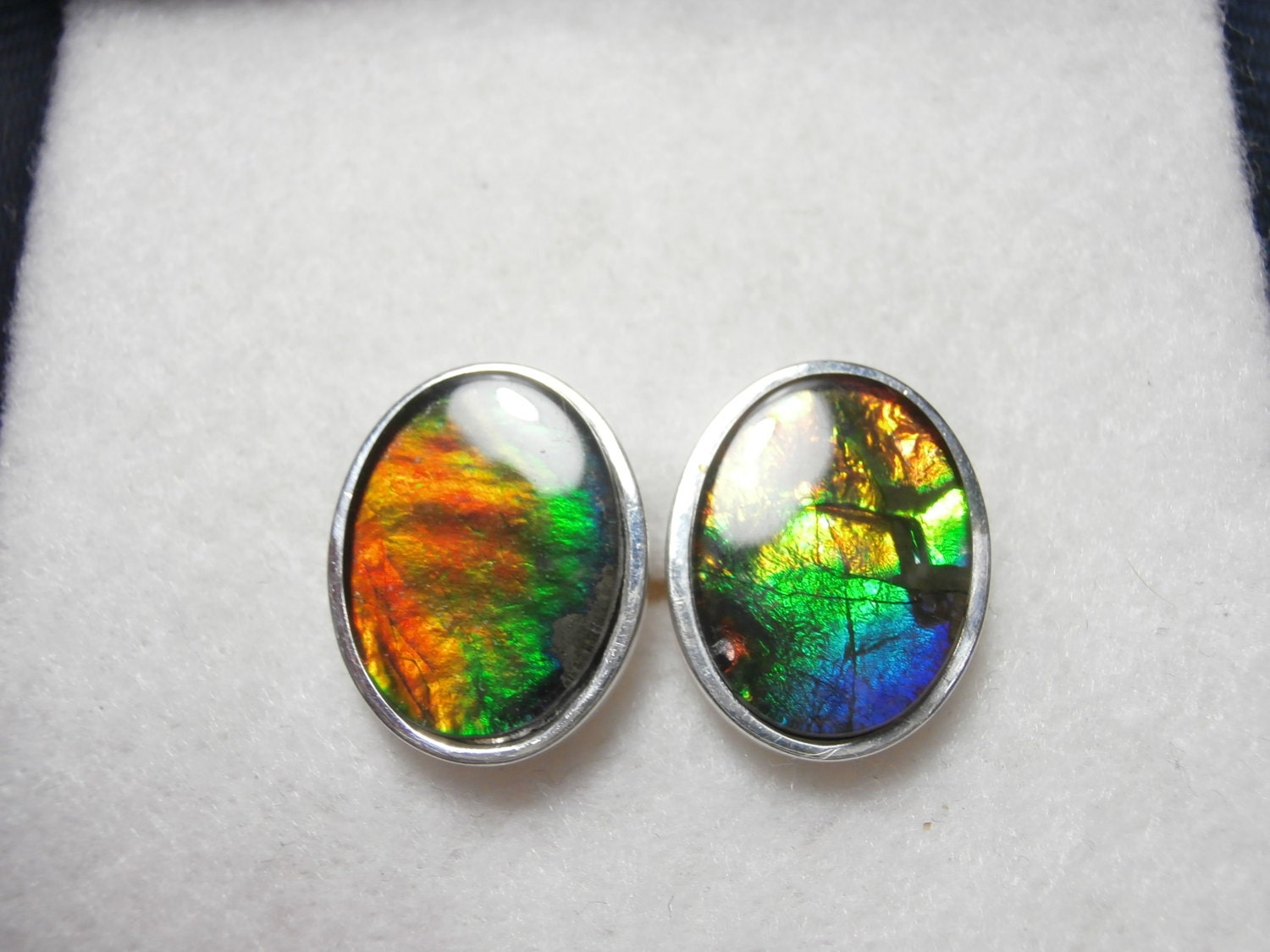 ammolite cufflinks multi colored gemstones by