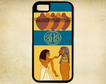 Personalized Egyptian Motif Pharaoh Icons Monogram iPhone Case 4, 4s, 5, 5C, 6, 6+ and Samsung Galaxy 3, 4, 5, 6, Edge