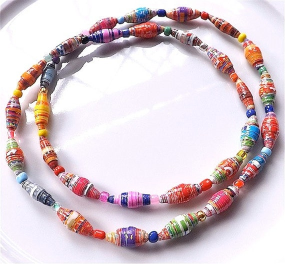 Hand rolled paper bead necklace or by Gailroseartsandcraft ...