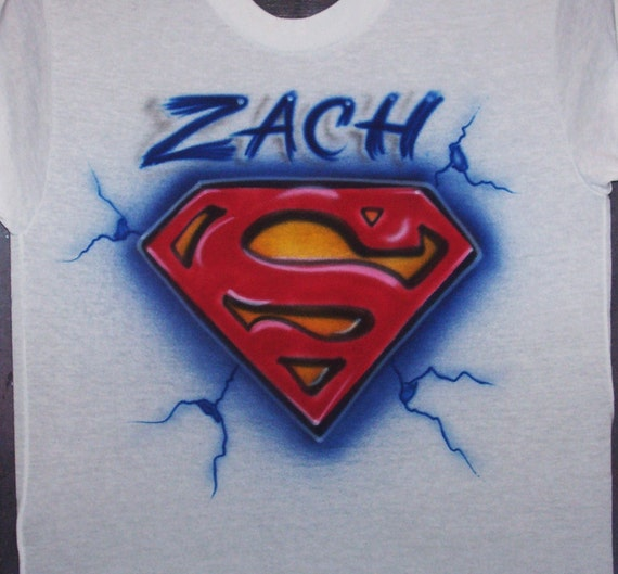 Superman super symbol airbrushed t shirt personalized youth for Make your own superman shirt