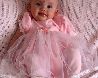White Tulle Voile Over Pink Crepe de Chine Baby Dress