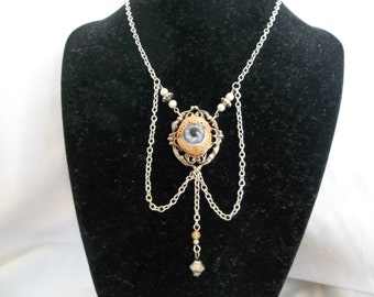 Creepy Victorian Human Doll Antique Blue Glass Eye Eyeball Silver Necklace
