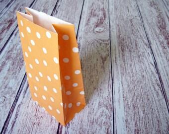 Party Favor Bags-10 ORANGE Polka Dot Lunch Sack-Polka Dot Party Favor Bags-Wedding Gift Bag-Dotted Birthday Treat Bag-Tangerine Goodie Bag