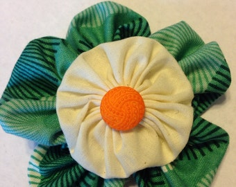 Fun Green and Cream Flower Hair Clip