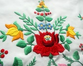 "Traditional hand made Hungarian embroidered pillow case with ""kalocsai"" flowers"
