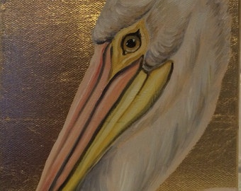 Pelican on gilded canvas