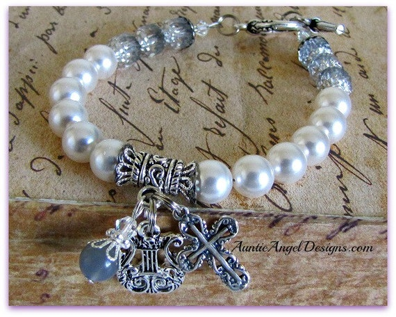 Pearly Gates of Heaven Old-World-Style Beaded Faith Bracelet; Christian Devotional Jewelry; Crucifix Bracelets; Angel Cross Bracelets