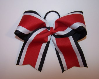 Black, White and Red Grosgrain Bow Softball Bows Volleyball Bows Soccer Bows