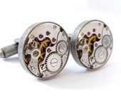 Steampunk Watch Cufflinks, Vintage Clockwork Watch Movement Cuff Links - Antique Silver