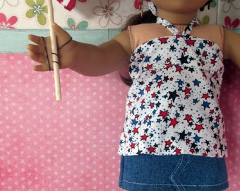18 inch Doll Clothes, Patriotic Bandeau Top, Denim Skirt, and Matching Shoes