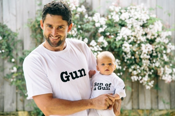 Matching Father and Son t-shirt set. Gun and Son of a Gun. White cotton t-shirts with free international delivery.