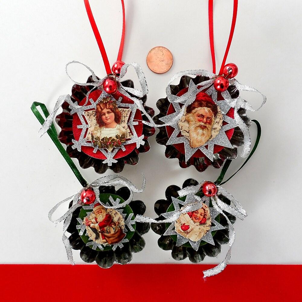 tart tin ornaments set of 4 altered swedish tin molds. Black Bedroom Furniture Sets. Home Design Ideas