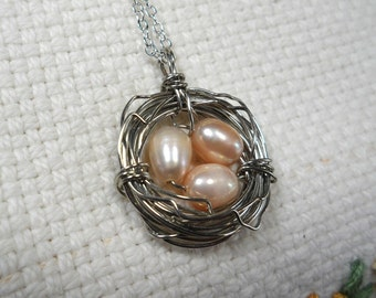 Birds Nest Necklace, Freshwater Pearl Necklace, Pink Freshwater Pearl Birds Nest Necklace