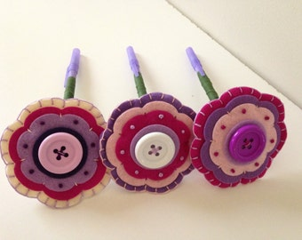 Just Because Felt Flower Pen - Purple Felt Flower with Purple Ink Pen