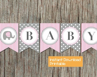 Pink and Grey Elephant Baby Shower Banner INSTANT DOWNLOAD Baby Girl pdf DIY Digital Printable Baby Shower Party Supplies Decorations 035