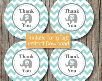 Thank You Gift Bag Tags DIY Printable Thank You Favor Tags Baby Shower Birthday Party Elephant Light Teal Grey Party INSTANT DOWNLOAD - 089