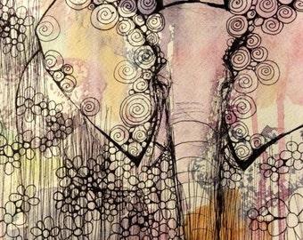 The Elephant and friend - print A3