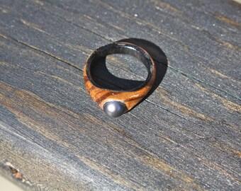 Wood Engagement Ring, Pearl Ring, Ebony Ring, Women's Ring, Zebra Wood