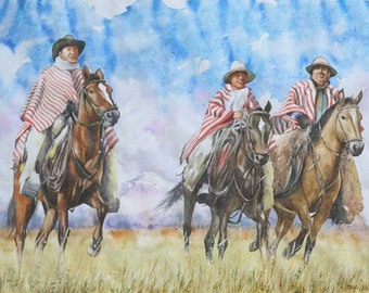 "Original horse watercolor painting: ""Andean cowboys"", 28"" x 19"", contemporary fine art horse painting, realistic wall decor"